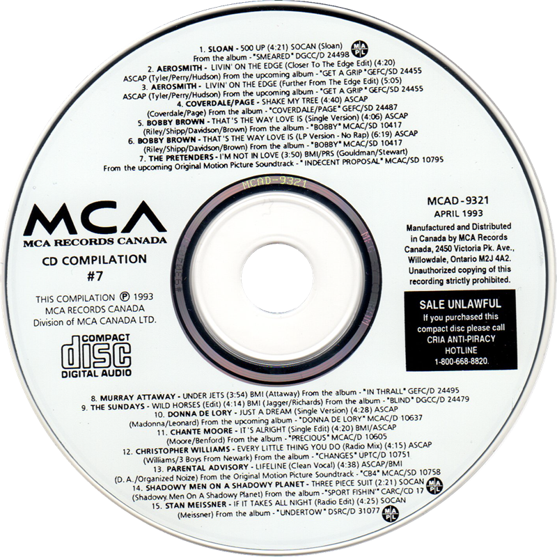 label of MCA CD Compilation #7