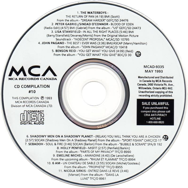 label of MCA CD Compilation #10